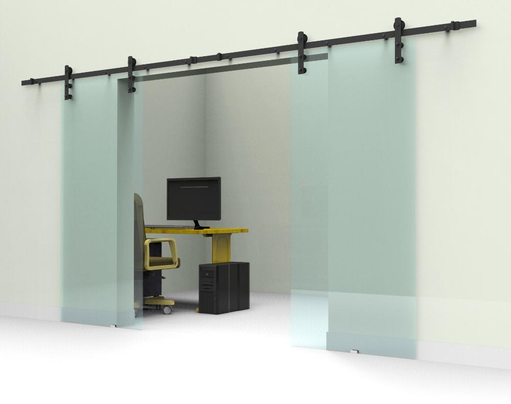 10ft/12ft Black Rustic Double Sliding Barn Glass Door Sliding Track Hardware Interior Glass Sliding Door Hardware