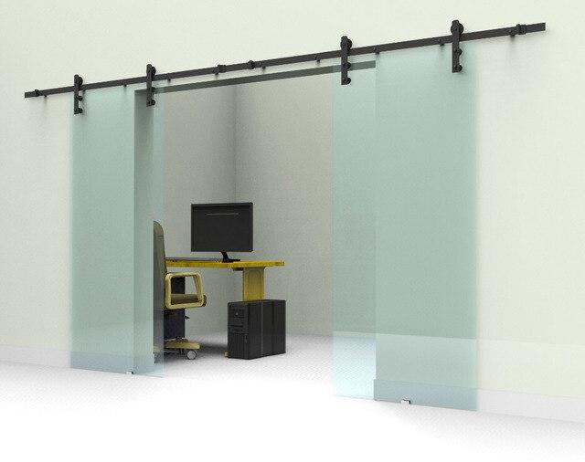 Inteligentny 10ft/12ft czarno rustykalne podwójne przesuwne barn szklane drzwi HM45