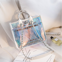 2019 Spring and Summer New Colorful Jelly Bags Clear Shoulder Messenger Bags Women PVC Purses and Handbags
