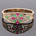 Elegant Bangle Champagne Gold Filled Hollow out Flower Lab-created Ruby&Emerald AAA CZ Bangle Bracelet Women Gift