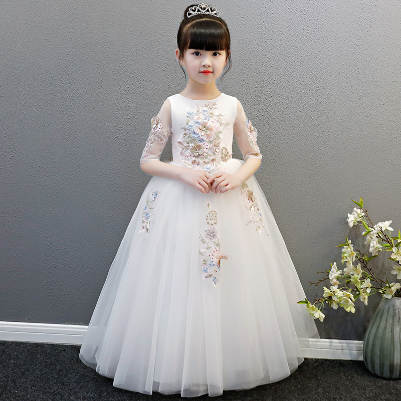 2018 New Spring Children Girls Half Sleeves Birthday Wedding Dance Ball Gown Long Dress Kids Baby Elegant Pageant Formal Dress green crew neck roll half sleeves mini dress