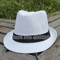 Summer White Straw Fedora Hat For Women Chapeu Feminino Panama Men's Jazz Trilby Sun Hats 12pcs/lot CSDS-002