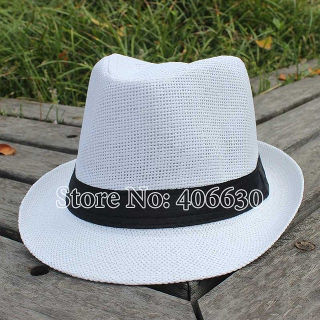 f256eca3a5b Summer White Straw Fedora Hat For Women Chapeu Feminino Panama Men's Jazz  Trilby Sun Hats CSDS002