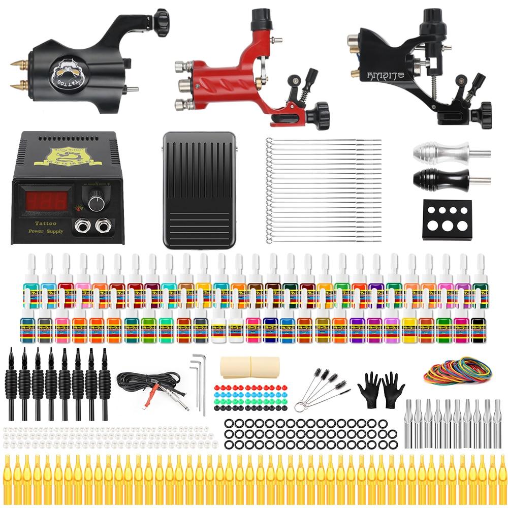 Stigma 2018 Professional Full Tattoo Kit 3 Rotary Tattoo Machine Alloy 54 Color Ink Set Power Supply Complete Tattoo Kits TK355