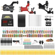 цена на Stigma 2020 Professional Full Tattoo Kit 3 Rotary Tattoo Machine Alloy 54 Color Ink Set Power Supply Complete Tattoo Kits TK355