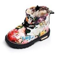 Winter Children Girls Boots With Fur Elegant Floral Flower Print Cute Kids Baby Martin Shoes Warm