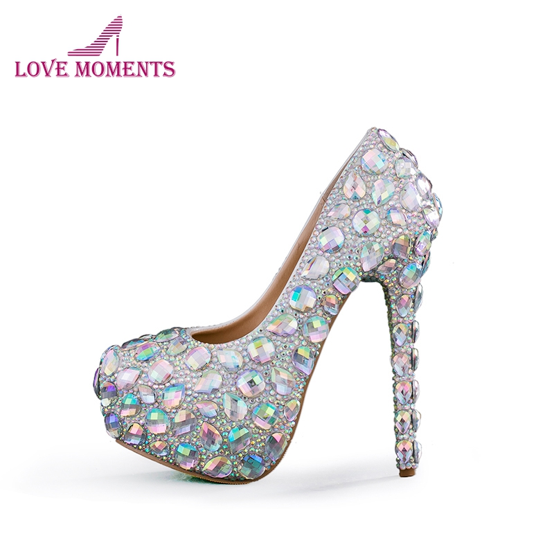 High Quality Sparkling Crystal Wedding Shoes AB Crystal Bridal Dress Shoes Cinderella Prom Pumps Wedding Party Anniversary Shoes ab crystal diamond exquisite wedding shoes sparkling rhinestone handcraft bridal shoes thin heel evening prom party women pumps