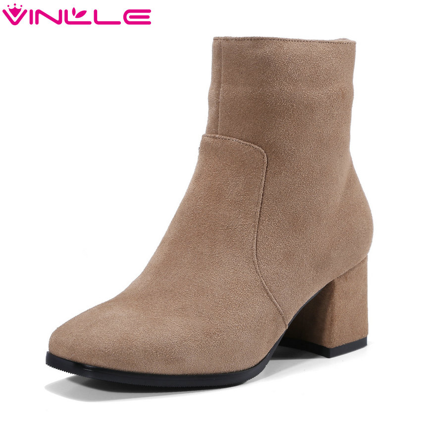 VINLLE 2018 Women Ankle Boots Shoes Autumn/Winter Square High Heel Pointed Toe Burgundy Ladies Motorcycle Shoes Size 34-39 esveva 2018 women boots zippers black short plush pu lining pointed toe square high heels ankle boots ladies shoes size 34 39