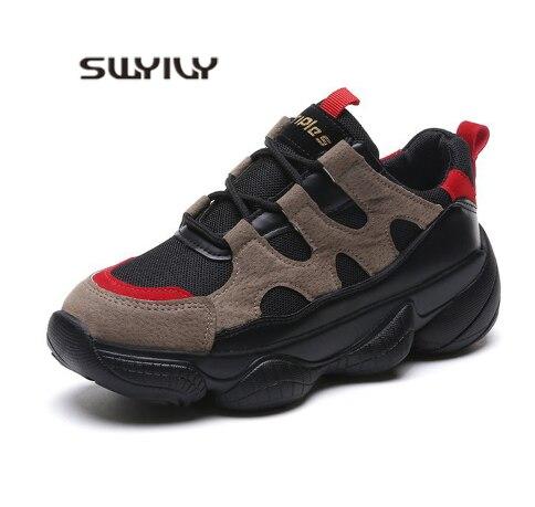 Plate Chaussures Casual Noir kaki Swyivy forme Printemps Sneaker Chunky Rétro Sneakers 2019 Été Femelle A Nouvelles Augmenté Femmes Dames 8xzAxqH