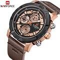 NAVIFORCE мужские часы лучший бренд класса люкс настоящие кварцевые часы с кожаным ремешком Мужские военные спортивные аналоговые с указанием ...