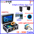 BESTWILL Original Underwater Fishing Camera Video Fish Finder Ice Fishing Camera 7 inch monitor LED light controller HD 1000TVL