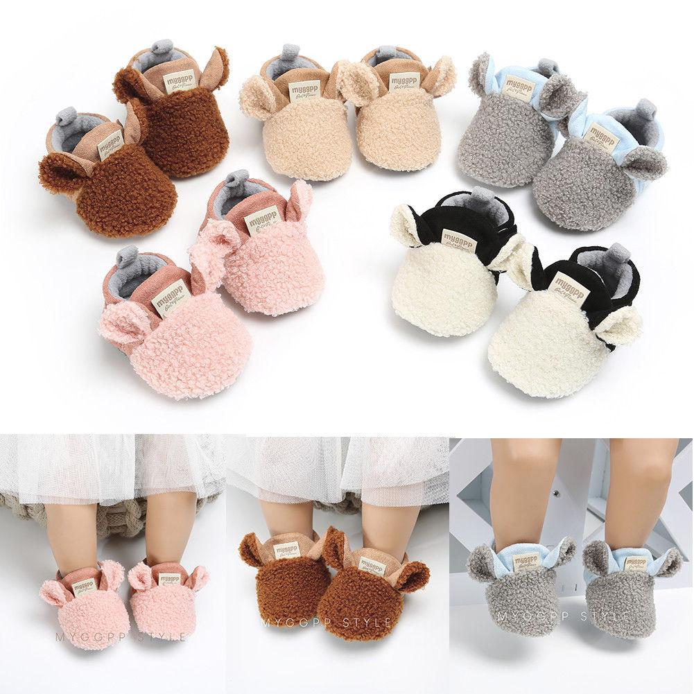 2018 Brand New Toddler Newborn Baby Crawling Shoes Boy Girl Lamb Slippers Prewalker Trainers Fur Winter Animal Ears First Walker 2