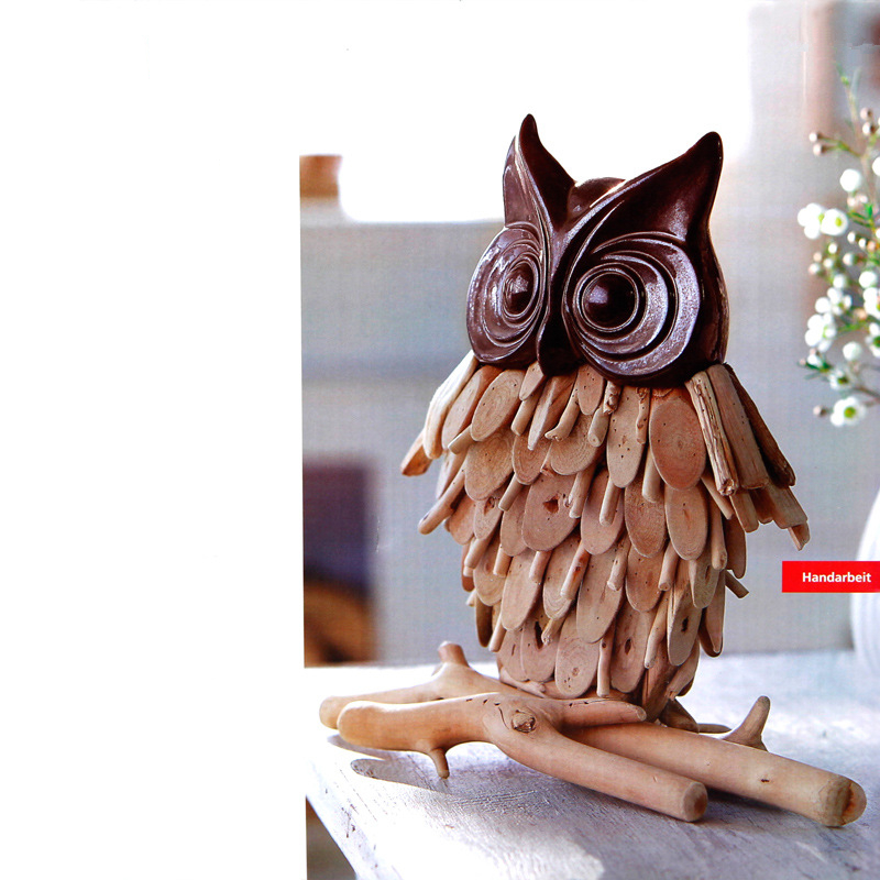 VILEAD 11 39 39 Wood Owl Figurine Wooden Wise Owl Decoration Ceramic Owl Model Vintage Home Decor Animal Ornament Souvenirs Kid Gift in Figurines amp Miniatures from Home amp Garden