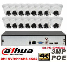 Dahua original 16CH 3MP H2.64 DH-IPC-HDW1320S 16pcs Network camera POE DAHUA DHI-NVR4116HS-4KS2 Dome IP CCTV security camera kit
