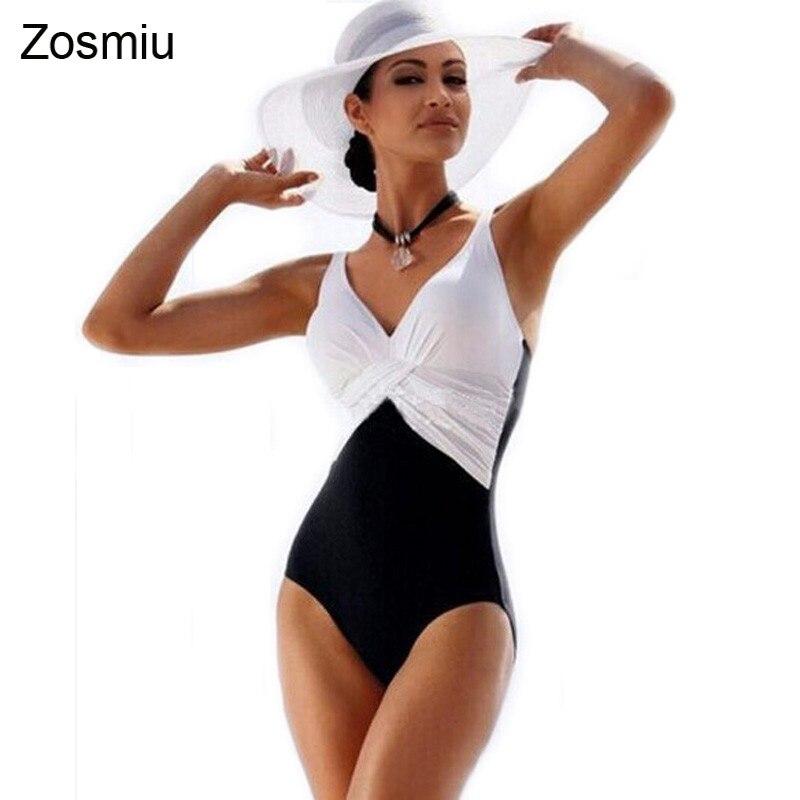 Zosmiu Newest Patchwork One Piece Swimsuit Women Plus big Size Swimwear Retro Ladies Bathing Suits Beachwear Swim Wear Monokini