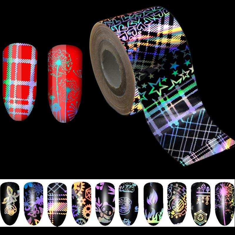 500m*4cm/Roll Holographic Stripe Transfer Foils Nail Foil Paper Polish Glue Transfer Adhesive Sticker DIY Nail Decal цена 2017