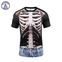 Mr 1991INC New 2017 Skulls T Shirt Men Women Summer Tops Tees Print Fake Two Pieces