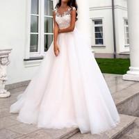 Vivian's Bridal 2018 Lovely Pink Lining Wedding Dress Short Cap Sleeve Illusion Lace Button Applique Zipper A line Bridal Dress