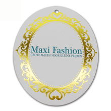 Golden stamping hang tag/clothing customized labels/paper tag/shape cutting tags with embossed logo brand name