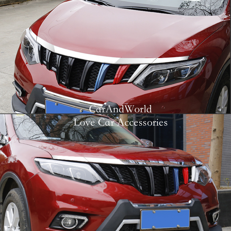 For Nissan X-Trail X Trail T32 Rogue 2014 2015 2016 Front Hood Grille Bonnet Strip Trim Cover ABS Chrome Car Styling Accessories for nissan x trail xtrail t32 rogue 2014 2015 2016 abs chrome front engine machine grille upper hood stick lid trim lamp 1
