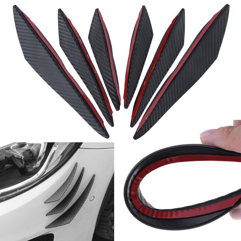 VODOOL 6pcs Carbon fiber Fit Front Bumper Lip Splitter Fins Body Spoiler Canards Valence Chin for Mercedes Audi BMW Car-styling