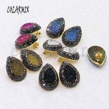 10 pares stud druzy brincos de pedra gota misture cores imitação druzy atacado jóias jóias jóias para mulher 7021