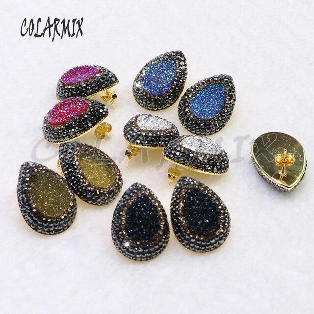 Boucles doreilles druzes pour femmes, 10 paires, boucles doreilles à clous en pierre, mélange de couleurs, imitation druzes, vente en gros de bijoux, tendance 7021