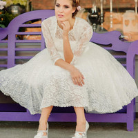 Vintage Short 50s Wedding Dresses With Jacket Half Sleeve A Line Tea Length Bridal Gowns Vestidos