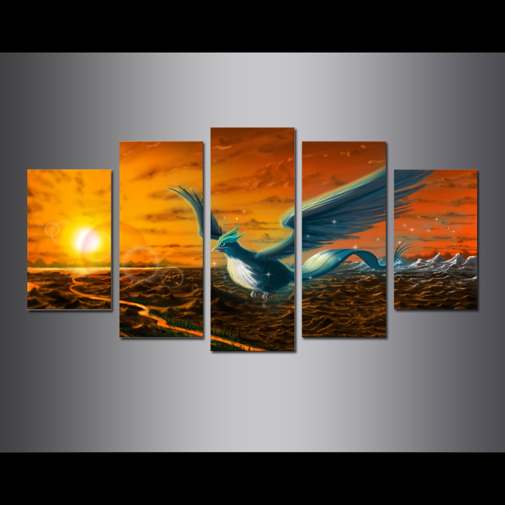 Unframed Canvas Painting Animation Blue-Flame Phoenix Poster Modular Picture Prints Pictures For Living Room Wall Art Decoration