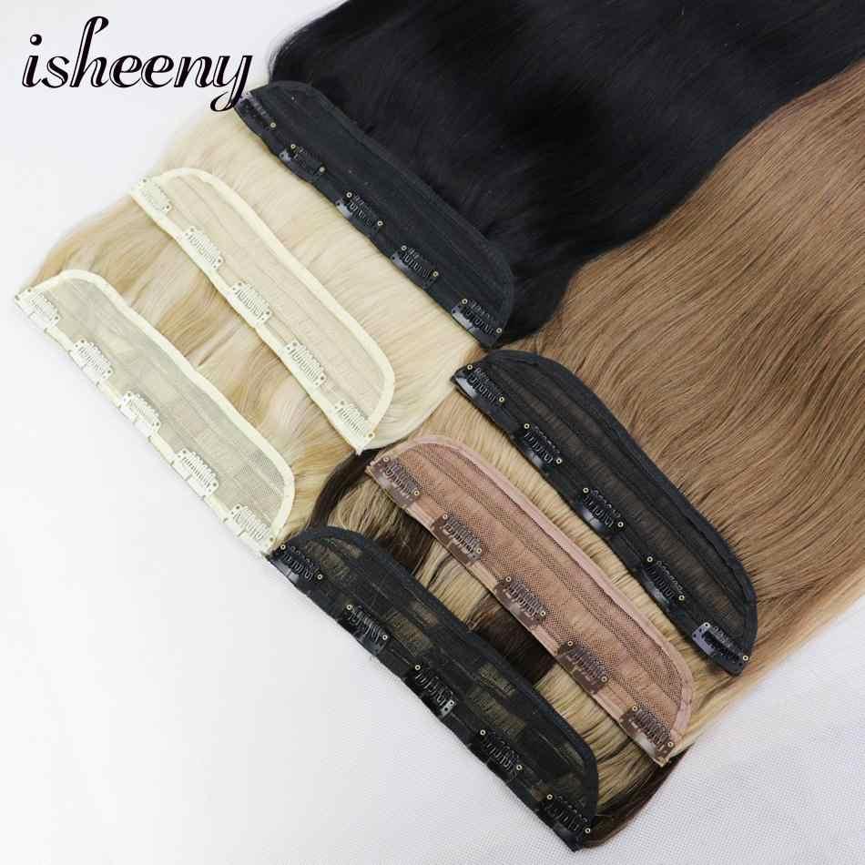 """Isheeny 14 """"18"""" 22 """"1 pc grampos de cabelo brasileiro tic tac 5 clipes remy parte do cabelo grampo em linha reta na extensão do cabelo humano"""