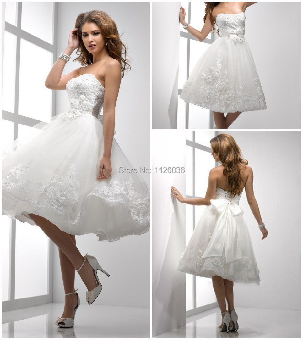 Aliexpress.com : Buy Lovely White Tulle Strapless Short Bridal ...