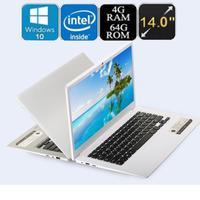Ultra-sottile Quad-Core Laptop 14 ''Screen Display 1366*768 pixel 4G + 64G Windows10 quad-core a quattro filo macchina fotografica di WIFI Builtin Batteria