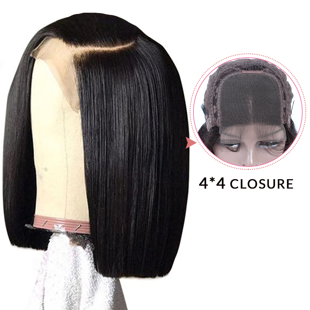 4*4 Straight Hair Short Lace Closure Human Hair Wigs For Black Women Human Hair Wigs Brazilian Remy Hair Free Shipping QUEEN