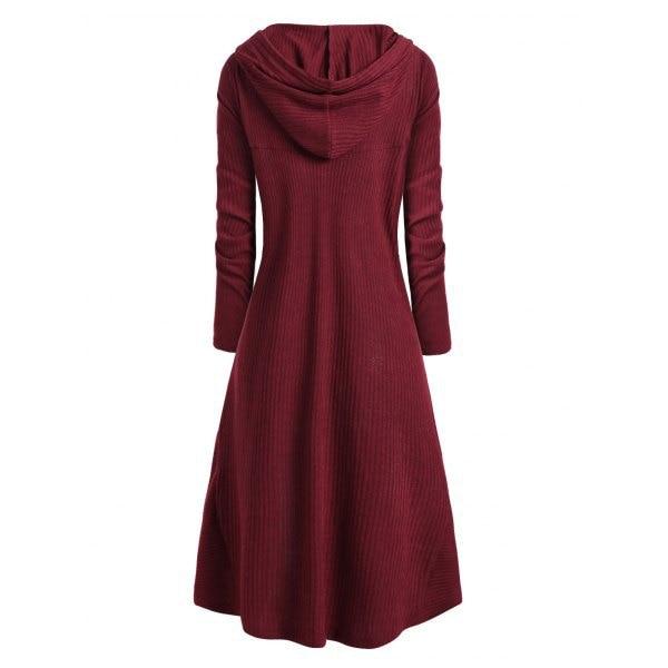 TryEverything Gothic Punk Jacket Women Black Hooded Plus size Winter 19 Coat Female Long Womens Jackets And Coats Clothing 3