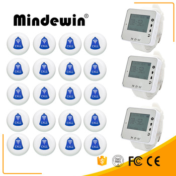 Mindewin Restaurant Pager Wireless Calling System 20pcs Call Transmitter Button+3 Waterproof Watch Receiver Catering Equ