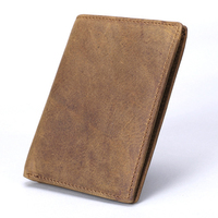 Crazy Horse Cowhide Genuine Leather Men Wallet Short Coin Purse Vintage Designer Slim Wallet Brand High