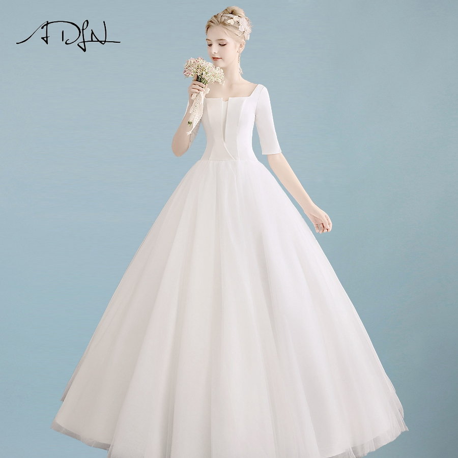 ADLN Cheap Ball Gown Wedding Dress Half Sleeves Satin and Tulle Wedding  Gowns Bride Dresses Robe 68d90f08d6f0