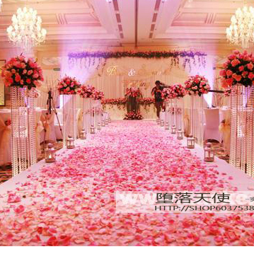 Wedding decoration quality raw silk rose petals marriage for Marriage bed decoration photos