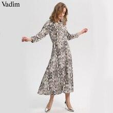 Vadim 여성 뱀 인쇄 발목 길이 드레스 주머니 긴 소매 분할 pleated 여성 캐주얼 세련된 드레스 vestidos qa502
