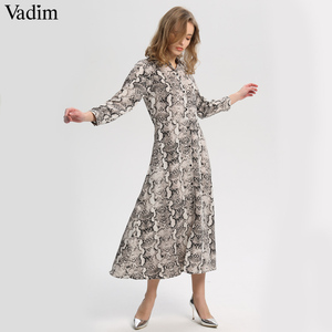 Image 1 - Vadim women snake print ankle length dress pockets long sleeve split pleated female casual chic dresses vestidos QA502