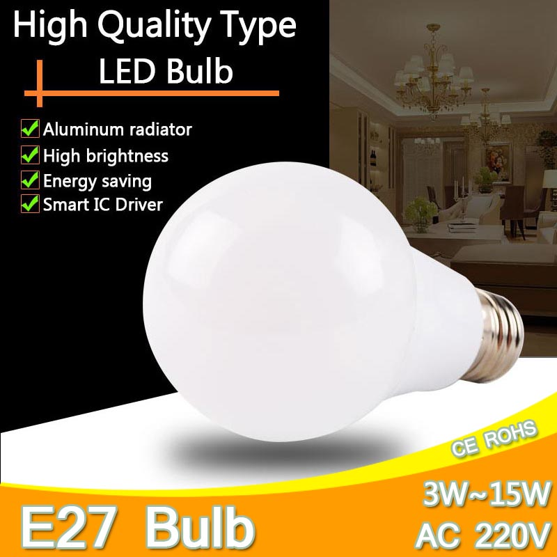 Aluminum LED Lamp Light E27 3W 5W 7W 9W 12W 15W LED Bulb 220V 240V Cold White/Warm White LED Lights LED Lampada Ampoule Bombilla 5pcs e27 led bulb 2w 4w 6w vintage cold white warm white edison lamp g45 led filament decorative bulb ac 220v 240v
