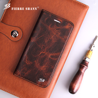 Fierre Shann For IPhone 7 7 6 6S Plus Crazy Horse Pattern Genuine Leather Flip Case