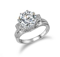 Vintage Jewelry 3 Carat SONA Lab Gem Rings for Women aneis de diamante Wedding Engagement Rings