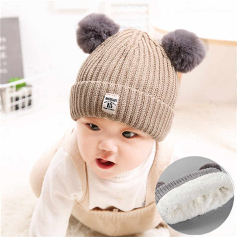 Ideacherry מולי צבעים תינוק כובע עם פונפון חם דביבון פרווה ובל כפת ילדים כותנה סרוג ילדי חורף כובע עבור חג המולד מתנה