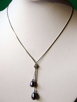 New Arriver Beautiful Dark Grey Freshwater Pearls Silver Plated Snake Skin Chain Necklace