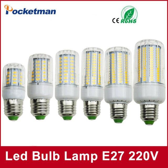 Светодиодные лампы SMD5736 E27 E14 светодиоды свет лампы 50 Вт 40 Вт 30 Вт 25 Вт 15 Вт 12 Вт 7 Вт накаливания заменить 220 В Spotlight кукурузы светодиодные фонари для дома