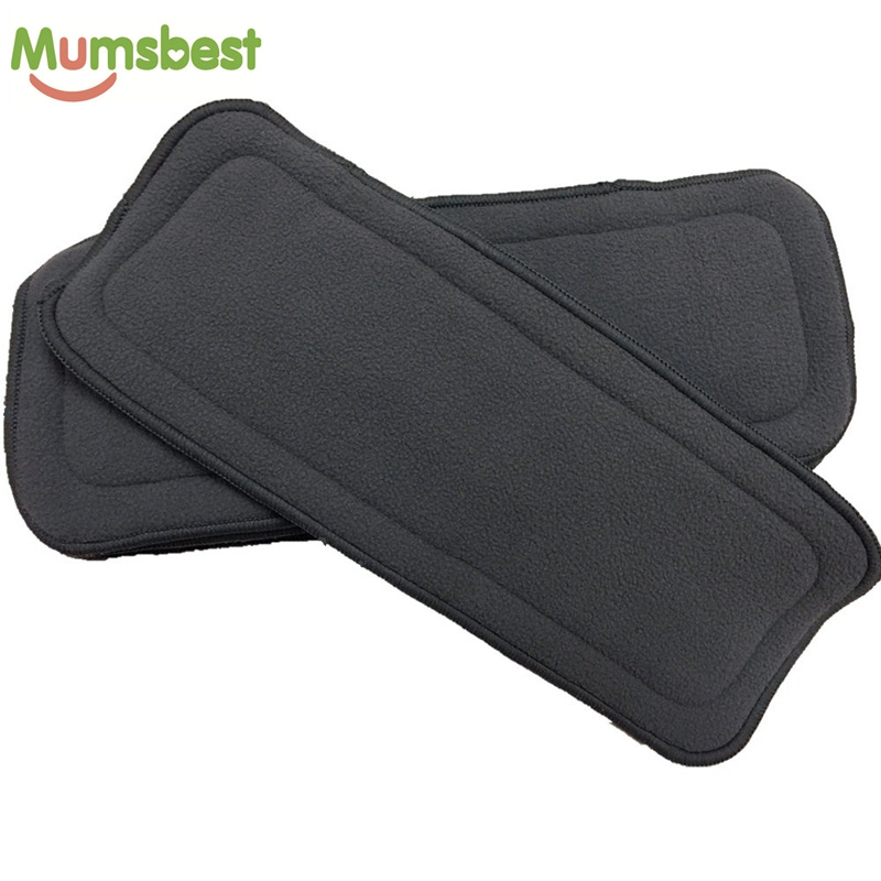 [Mumsbest] 1Pcs Reusable Washable 5Layers Bamboo Charcoal Inserts Boosters Liners For Real Pocket Cloth Nappy Size:35*13.5cm