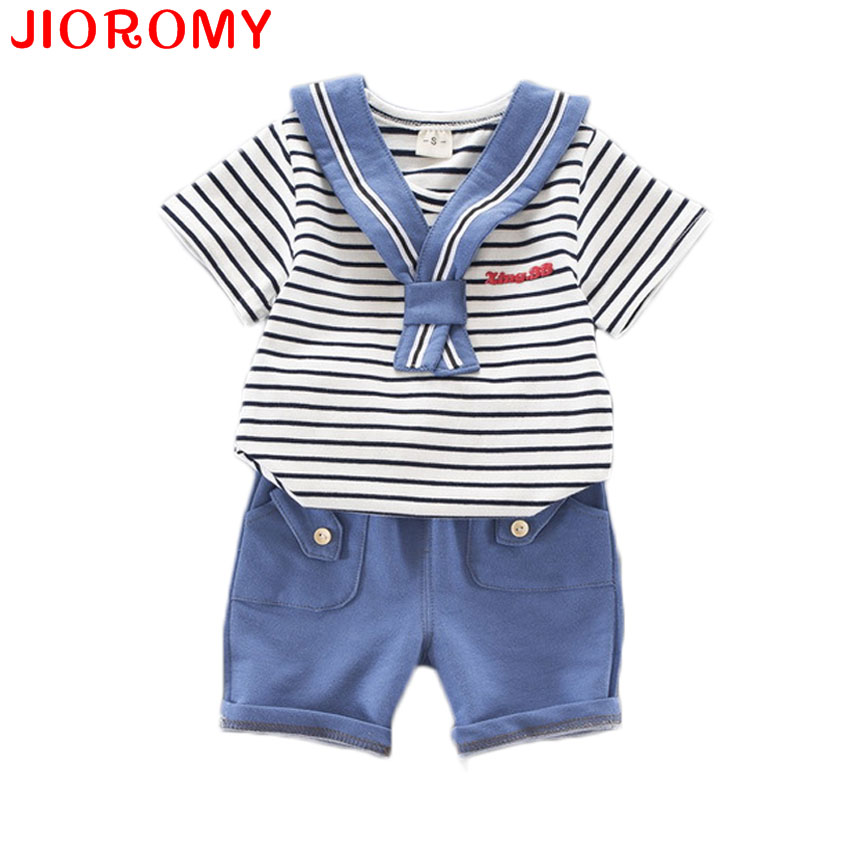 JIOROMY 2017 Boys Baby Navy Suit Striped Short-sleeved T-shirt + Pants 2 Pieces Set Fashion Kdis Clothes Cotton Girls Summer family fashion summer tops 2015 clothers short sleeve t shirt stripe navy style shirt clothes for mother dad and children