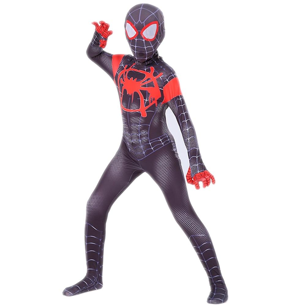 Miles Morales Spiderman Cosplay Adult Kids Boys Spider Man Costume 3D Lycra Spandex Zentai Superhero Bodysuit Jumpsuits