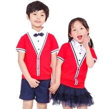 a581b37ce Niños vestido académico uniformes escolares Conjuntos Niño Perforamce disfraces  estudiante chica Kindergarten escuela de los muchachos